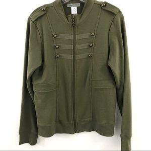 VINTAGE SUZIE MILITARY GREEN STYLE SWEATER/JACKET